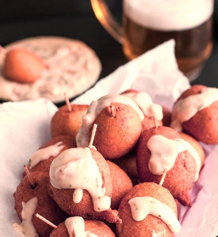 Mini Bratwurst Corn Dogs with Cheddar Beer Sauce