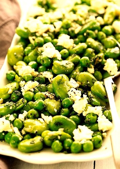 Peas & Fava Beans with Mint & Feta by ric_w on Flickr.