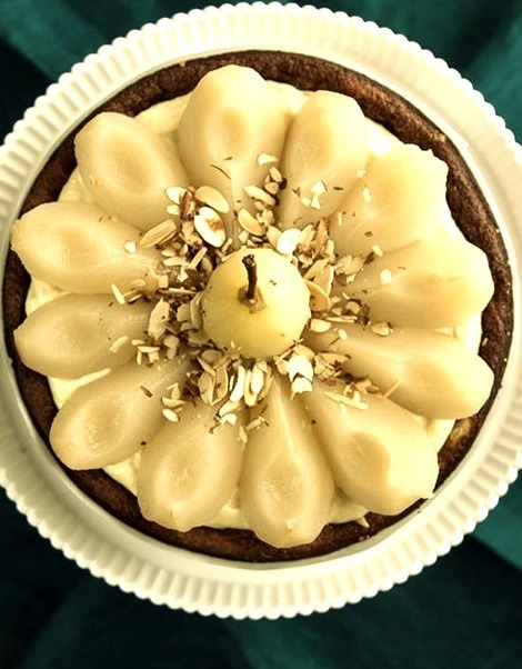 White Chocolate Cake w/Vanilla Poached Pears Hungry Rabbit on We Heart It.