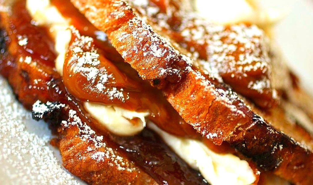 Dulce de leche and mascarpone grilled cheese